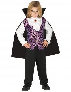 Vampir-Kostüm für Jungen Halloweenkostüm schwarz-lila-weiss