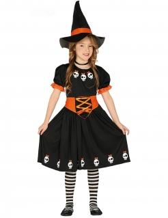 Hexenkostüm für Mädchen mit Totenkopf-Motiv schwarz-orange-weiss
