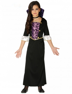 Schauriges Vampir-Kostüm für Mädchen Halloweenkostüm schwarz-lila