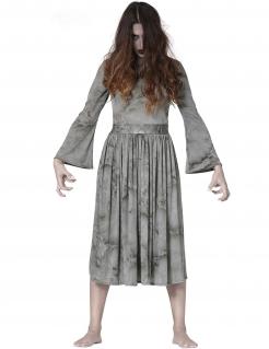 Gruseliges Wiedergänger-Kostüm für Damen Halloweenkostüm grau-schwarz