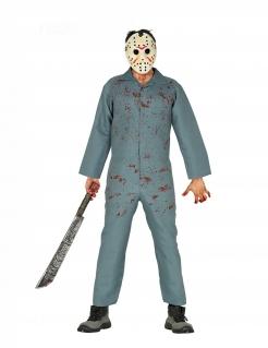 Serienmörder-Kostüm Hockey-Killer grau