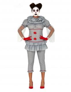 Psycho-Clown-Kostüm für Damen Halloween-Kostüm grau-rot