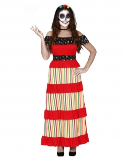 Schulterfreies Tag der Toten Kleid für Damen rot-bunt