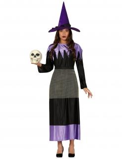 Geheimnisvolle Hexe Halloween-Kostüm für Damen schwarz-lila