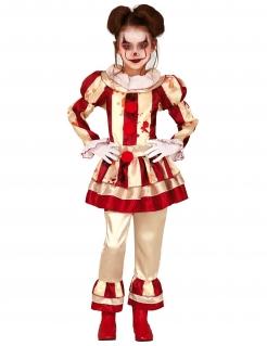 Killerclown-Kostüm für Mädchen Halloween-Kostüm beige-rot