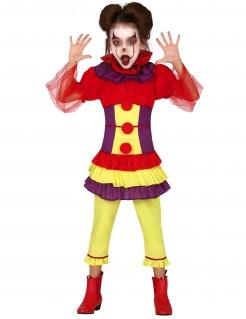Clown-Kostüm für Mädchen Karnevalskostüm rot-lila-gelb