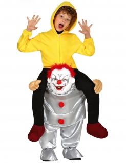 Huckepack-Kinderkostüm Killerclown Carry-Me-Kostüm für Halloween gelb-silber