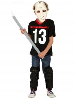 Hockey-Kostüm für Kinder Halloween-Kostüm schwarz-weiss