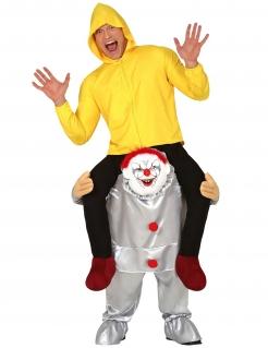 Huckepack-Kostüm Horrorclown Carry-Me-Kostüm für Halloween silber-gelb