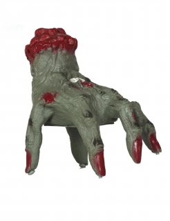 Animierte Zombiehand Halloween-Deko grün-rot 20 cm