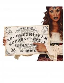 Ouija-Brett aus Holz Halloween-Partydeko beige-schwarz 48x32 cm