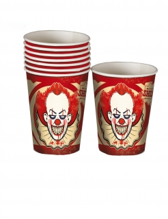 Halloween-Clown-Becher Horrorclown-Deko 8 Stück rot-beige 250ml