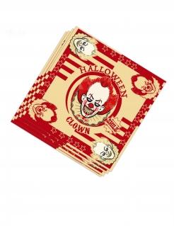 Halloween-Clown-Servietten Horrorclown-Deko 20 Stück rot-beige 33x33cm