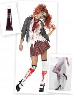 Zombie-Schülerin Damenkostüm-Set 3-teilig weiss-rot-grau