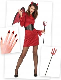 Teufelin-Kostüm-Set für Damen Halloween 6-teilig rot-schwarz