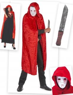 Mörder-Kostüm-Set 3-teilig Halloween rot-weiss