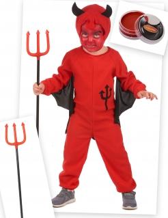 Teufelkostüm-Set für Kinder Halloween-Kostüm 4-teilig rot