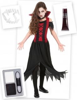 Vampir-Kostüm-Set für Mädchen Halloween-Kostüm 6-teilig rot-schwart