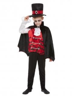 Vampir-Gentleman Halloween-Kostüm für Kinder schwarz-rot-weiss