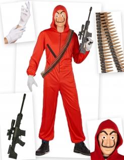 Bankräuber-Kostüm-Set 6-teilig rot
