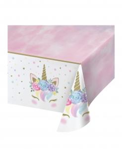Einhorn-Tischdecke Partydeko rosa-weiss 137 x 259 cm