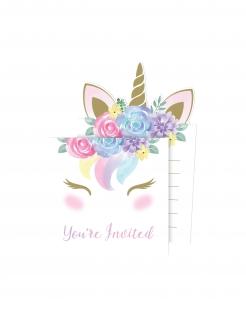 Einhorn-Einladungskarten mit Umschlägen 16-teilig weiss-bunt 10 x 15 cm