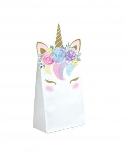 Einhorn-Geschenktüten 8 Stück weiß 11,4cm x 20cm