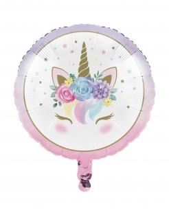Einhorn-Luftballon Folienballon pastellfarben-gold-weiss 45cm