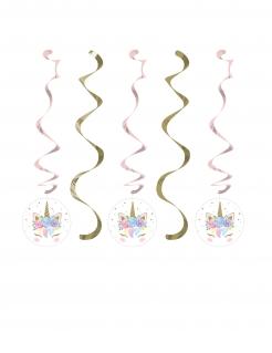 Spiralaufhängung Einhorn 5 Stück gold-rosa 76 x 99 cm