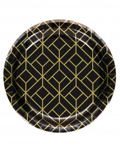Charleston-Teller klein 20er Jahre-Partydeko 8 Stück schwarz-gold 18 cm