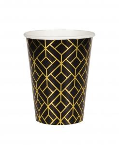 20er-Jahre Pappbecher 8 Stück schwarz-goldfarben 355 ml