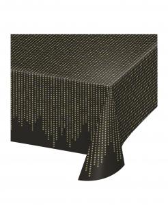 Charleston-Tischdecke 20er Jahre-Partydeko schwarz-gold 137x259 cm
