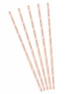 Cocktail-Strohhalme 10 Stück rosa-goldfarben 19,5 cm