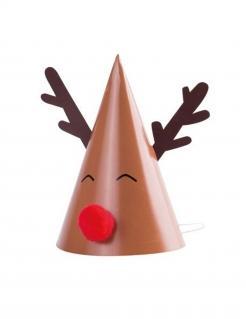 Rentier-Partyhüte für Weihnachten Partyzubehör 8 Stück braun-weiss-rot 11 x 17 cm