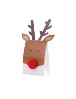 Rentier-Behälter Adventskalender Weihnachten Geschenk-Box 8 Stück braun-rot-weiss 11 x 11,6 cm