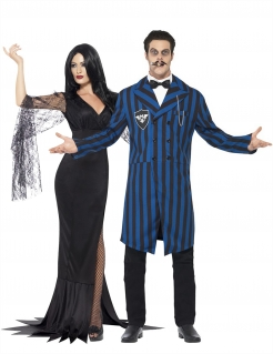 Gruselige Familie Herzog und Gräfin Halloween-Partnerkostüm schwarz-blau