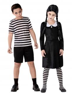 Gothic-Geschwister Paarkostüm für Kinder Halloweenkostüm schwarz-weiss