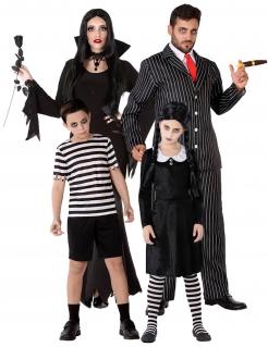 Gothic-Familie Gruppenkostüm Halloweenkostüm schwarz-weiss