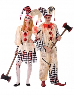 Killer-Harlekin-Paarkostüm für Teenies Halloween-Kostüm beige-weiss-rot
