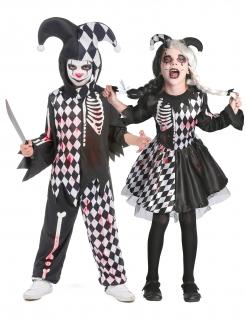 Blutiges Harlekin-Paarkostüm für Kinder Halloween-Kostüm schwarz-weiss