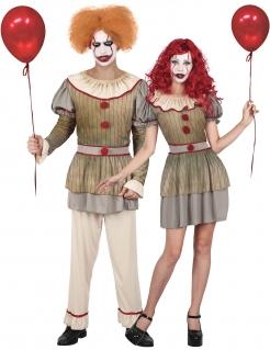 Psychoclown-Paarkostüm für Herren und Damen Halloween-Kostüm grau-rot