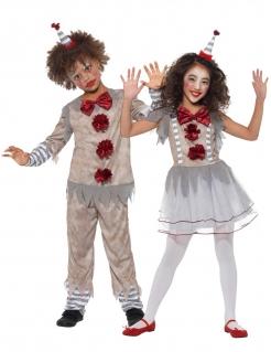 Vintage-Clown-Paarkostüm für Kinder Halloween-Clownkostüm grau