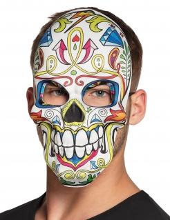 Tag der Toten Maske Sugar Skull Maske weiss-bunt