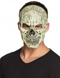 Schaurige Schädel-Maske Halloween-Maske beige