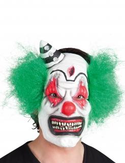 Schreckliche Horrorclown-Maske Halloween-Maske weiss-grün