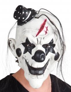 Horror-Harlekin-Maske mit Hut Horrorclown-Maske weiss-schwarz