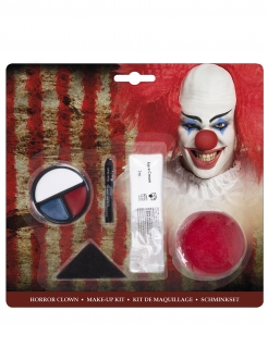 Horrorclown-Schmink-Set Halloween-Make-up blau-weiss-rot