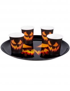 Kürbis-Tablett Halloween-Partydeko schwarz-orange 34,5 cm
