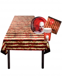 Horror-Clown Geschirr-Set Halloween-Deko-Set 25-teilig rot-beige