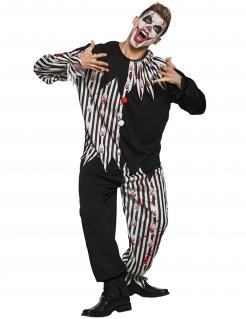 Blutiges Clown-Kostüm für Herren Halloween-Kostüm schwarz-weiss